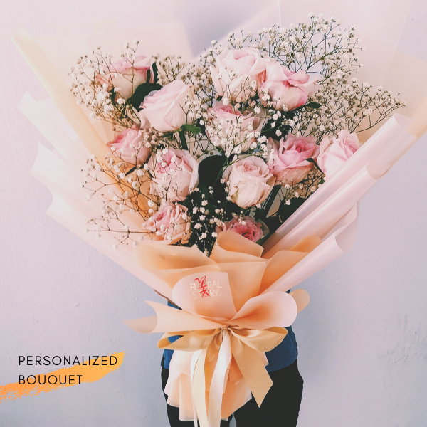 $150 Personalized Bouquet Peach 사랑해